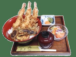 上天丼(海老3本と野菜)