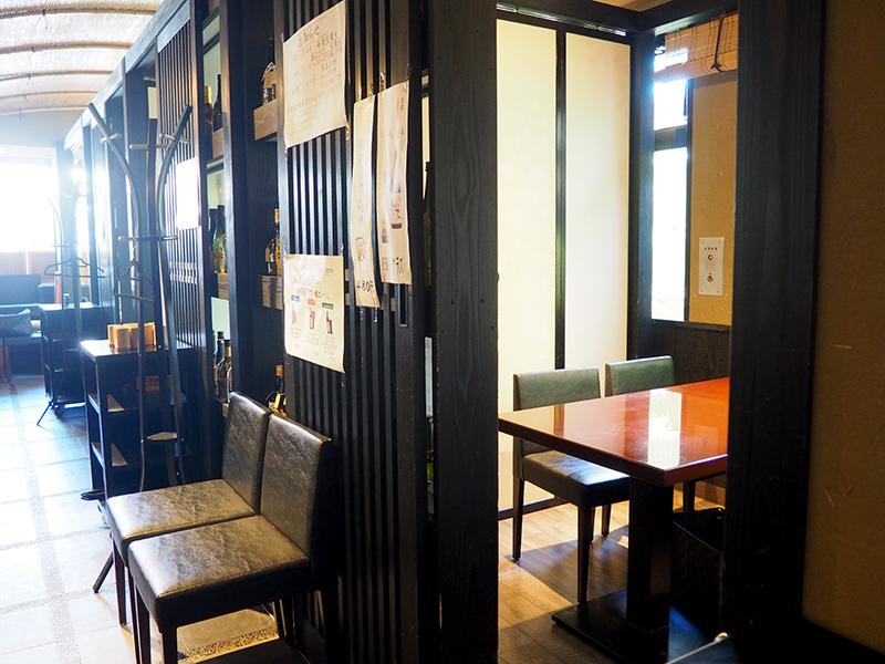 個室になるテーブル席4